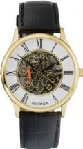 Sekonda 3426 Gold Plated Skeleton Movement Leather Upper Gents Watch